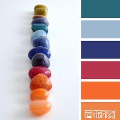 Inspired by color, Stone, Blue, Orange, Pink, Teal, Rocks