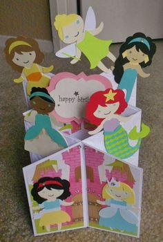 Disney princess cascade card using once upon a princess cricut cartridge
