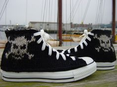handknit pirate skull black and white converse shoes - woah! :) neat!