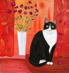 """Painting by Mary Stubberfield """"Cat with Carnations,"""" oil on cardboard 60 x 60  @saatchiart.com"""