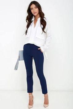 Resultado de imagen para como combinar un pantalon azul marino
