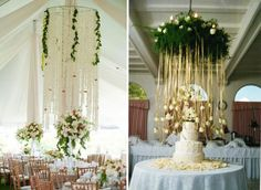 Create more space with hanging decorations! #beautiful #receptiondecorations #weddingideas