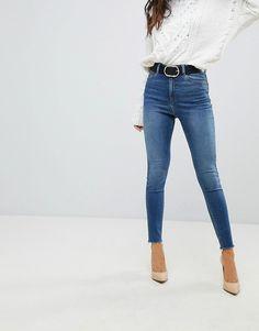ASOS   ASOS - RIDLEY - Jean skinny taille haute - Bleu vif Neo délavé Mode 5df22f36ba0