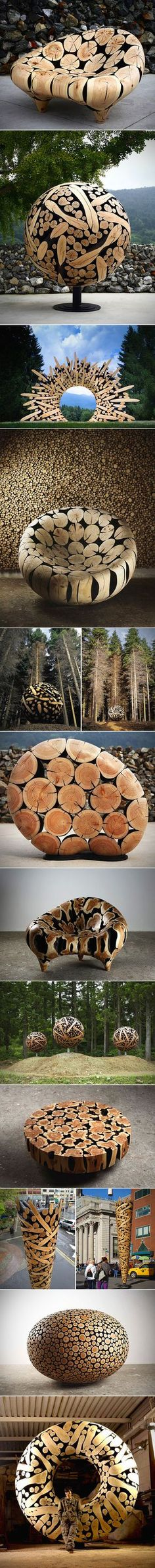 South Korean artist Jae-Hyo Lee turns discarded pieces of wood into incredible sleek sculptures. Having assembled various chunks of wood, he burns and then carefully polishes them to create visual contrast and a smooth surface. Art Sculpture, Tree Trunks, Environmental Art, Public Art, Oeuvre D'art, Installation Art, Garden Art, Wood Art, Amazing Art