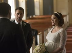 Pin for Later: The Ultimate Movie and TV Weddings Gallery The Blacklist Liz (Megan Boone) marries Tom (Ryan Eggold) again, but there is no happy ending for these two. Blacklist Serie, Amelia And Owen, The Hollars, Joelle Carter, Luke And Lorelai, Jane And Michael, Jeans Wedding, The Light Between Oceans, Kevin Mckidd