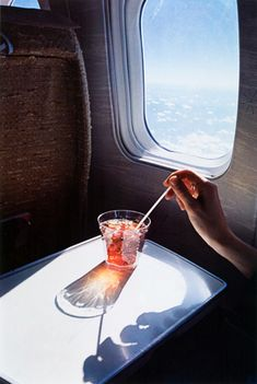 airplane window, cocktail