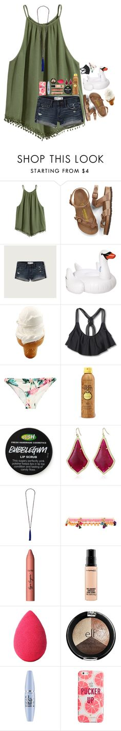 """""""the tan lines will fade, but the memories will last forever"""" by mehanahan ❤ liked on Polyvore featuring Birkenstock, Abercrombie & Fitch, Sunnylife, Mossimo, H&M, Sun Bum, Kendra Scott, French Connection, Shashi and tarte"""