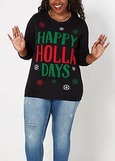 Plus Happy Holla Days Sweater