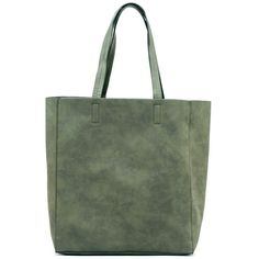 FC Select Design New Vegan Clean Simple Tote Bag ($56) ❤ liked on Polyvore featuring bags, handbags, tote bags, green tote handbag, faux leather tote bag, tote purse, green purse and vegan tote bag