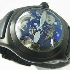 Famous brand Bubble Watch,Gent's Leather strap Fashion Mechanical Hand Wind Watches Water resistant,Birthday Gift