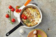 Das Rezept für Pilz-Krabben-Pfanne mit Parmesan mit allen nötigen Zutaten und der einfachsten Zubereitung - gesund kochen mit FIT FOR FUN