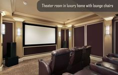 theatre rooms in basements | Classic Theater Room in Luxury Home with Lounge Chairs