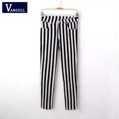 Spring Summer Casual Women Pencil Pants Elastic Slim Capris Black White Stripe Leggings Trousers Women Pants
