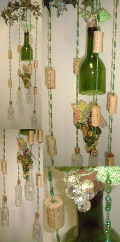 wine bottle grape cluster sun catcher wind chime mobile