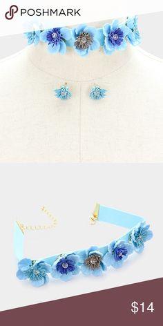 """Flower Choker Necklace Set • Theme : Flower & Leaf  • Necklace Size : 12"""" + 3"""" L • Decor Size : 1.25"""" H • Earrings Size : 0.6"""" L • Flowers & faux suede choker necklace Jewelry Necklaces"""