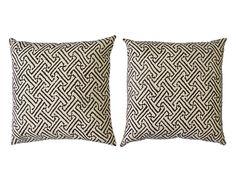 Quadrille Cream and Brown Pillow Pair | The Local Vault
