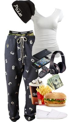 """""""I Honestly Can't Explain Why I'm Wearing Pajamas @ McDonalds"""" by naejai ❤ liked on Polyvore"""