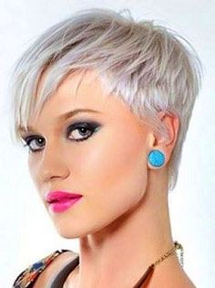 Super short platinum pixie.