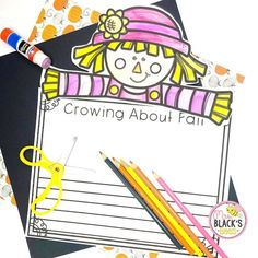 This scarecrow craft and writing activity is great for students in Kindergarten, First and Second grades.  This craft can also be sent home and used  for students that are doing distance or virtual learning or homeschool.  Students color the craft topper and then respond through different writing choices.  There is also a name craft included.  This lesson makes an adorable display in the hallway, classroom or home once completed.