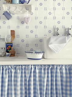 beautiful blue cottage kitchen