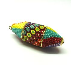 Supplies crocheted beaded elliptic oval hollow FOCAL BEAD flowers handmade  by Artefyk tagt team - pinned by pin4etsy.com