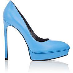 Saint Laurent Women's Janis Platform Pumps ($319) ❤ liked on Polyvore featuring shoes, pumps, blue, high heel stilettos, platform stiletto pumps, blue platform pumps, blue platform shoes and platform shoes