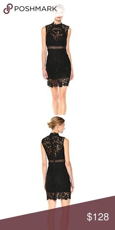 """Bardot Paris Lace Dress in Black, US 6/S *New!*  Peekaboo sheer panels lend date-night allure to this Bardot LBD in romantic floral lace, scalloped at the hem for a sweet finishing touch.  Fits small Mock neck, sleeveless, scalloped at neck and hem Exposed back zip closure, partially lined Approx. 36"""" from back of neck to hem, based on a size small Polyester; lining: polyester/elastane Dry clean or hand wash Imported.  Seasons: 2017 Bardot Dresses Wedding"""