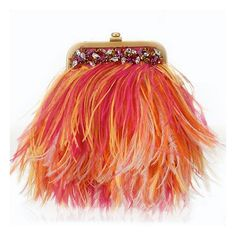 I LOVE these colors! Mary Norton Small Ostrich Feathers Evening Handbag ❤ liked on Polyvore