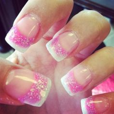Pink And White Gel Nails | ... american tip with glitter # simple nails # pretty nails # gossip nails