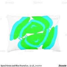 Spiral Green and Blue Fractal art design Decorative Pillow