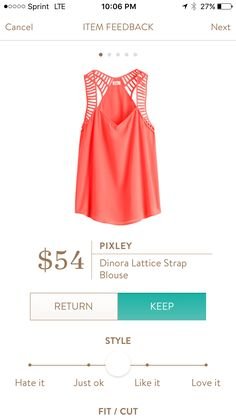 Pixley lattice strap blouse. I love Stitch Fix! A personalized styling service and it's amazing!! Simply fill out a style profile with sizing and preferences. Then your very own stylist selects 5 pieces to send to you to try out at home. Keep what you love and return what you don't. Only a $20 fee which is also applied to anything you keep. Plus, if you keep all 5 pieces you get 25% off! Free shipping both ways. Schedule your first fix using the link below! #stitchfix @stitchfix. Stitchfix…