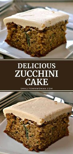 The best moist Zucchini Cake with a brown sugar cream cheese frosting! This delicious yet simple dessert recipe is flavored with fresh zucchini, walnuts, cinnamon, nutmeg, and allspice. It is a sure crowd-pleaser for potlucks and family gatherings! Save this pin! Easy Desserts, Delicious Desserts, Simple Dessert, Zucchini Cake, Cake Recipes, Fish Recipes, Sweet Recipes, Moist Cakes, Family Gatherings