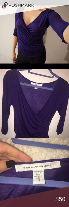 NWOT Diane Von Furstenberg shirt Purple super silky DVF shirt. Brand new never been worn! Tops Blouses