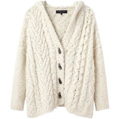 Rag & Bone Adirondack Hooded Cardigan ($495) ❤ liked on Polyvore featuring tops, cardigans, sweaters, outerwear, short-sleeve cardigan, crop top, oversized cable knit cardigan, cropped cardigan and white crop top