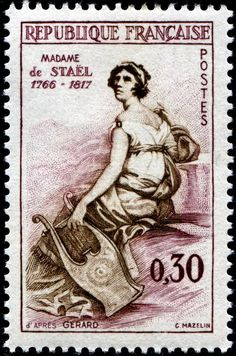 Madame de Stael (Anne Louise Germaine de Staël-Holstein 1766-1817) Postage stamp printed in France, circa 1960