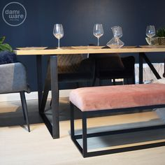 Dining Bench, New Homes, Bedroom, Interior, Blue, Furniture, Amsterdam, Home Decor, Peach