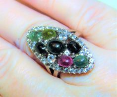 Estate 7 PINK/MULTICOLOR NATURAL TOURMALINE w White Topaz 925 Sterling Ring #Cocktail