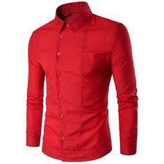 Back Pleat Asymmetrical Front Plain Shirt ($16) ❤ liked on Polyvore featuring men's fashion, men's clothing, men's shirts, men's casual shirts and mens pleated shirt