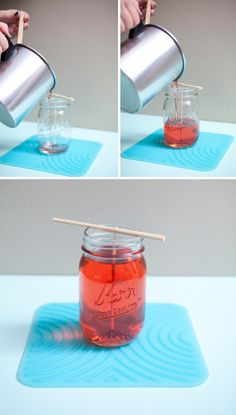 DIY mason jar candles.