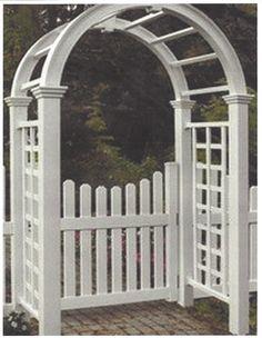 The Nantucket Deluxe White Vinyl Garden Arbor with Gate provides Garden Arbor With Gate, Arbor Gate, New England Arbors, Front Gates, Southport, Coastal Cottage, White Vinyl, Nantucket, Bird Houses