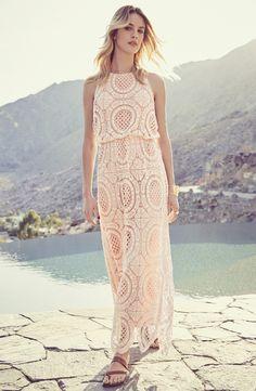 b238fa79b54d Eliza J Lace Blouson Maxi Dress (Regular   Petite) Kvinde Kjoler