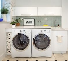 Ikea Laundry Room Cabinets - Design photos, ideas and inspiration. Amazing gallery of interior design and decorating ideas of Ikea Laundry Room Cabinets in laundry/mudrooms, kitchens by elite interior designers. Ikea Laundry Room, Modern Laundry Rooms, Laundry Room Shelves, Laundry Room Cabinets, Laundry Room Organization, Laundry Storage, Ikea Cabinets, Upper Cabinets, Laundry Area