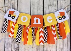 Construction Birthday Banner Highchair banner One Tractor Dump