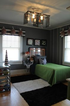 Create idea for a BOY'S BEDROOM Headboard made from a basketball backboard and rope lighting; Basketball rim mounted to a wall as nightstand; Media unit made from vintage lockers; Basketball cage turned into a desk; Boys Bedroom Decor, Bedroom Themes, Bedroom Ideas, Boy Bedrooms, Gray Bedroom, Bed Ideas, Basketball Bedroom, Basketball Backboard, Basketball Rooms For Boys