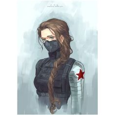 Female Bucky Barnes Gender Benders ❤ liked on Polyvore featuring avengers, bucky barnes, hair, marvel and people