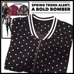 Lightweight Polka-dot Bomber Jacket This cute polka dot bomber is made of a lightweight poly fabric. It is a size L but fits more like a medium. Boutique Jackets & Coats