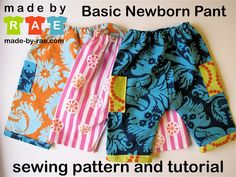 """Free! Rae's Basic Newborn Pant Sewing Pattern  These were way too long for newborns, but are fitting my 2.5 month old just perfectly for length (he's 24"""" long and about 13lbs).  I used 17"""" of 3/8"""" elastic and overlapped the ends by 1"""" on each end.  He has plenty of room in them, so I think i'll just use the same pattern and increase the rise and the leg length to make a larger size :)"""