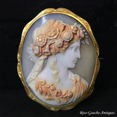 18kt gold large Museum Quality Shell Cameo Broche of Goddess Flora, 19th century