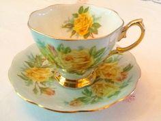"""Royal Albert malvern """"Tea Rose"""" variation, blue green"""