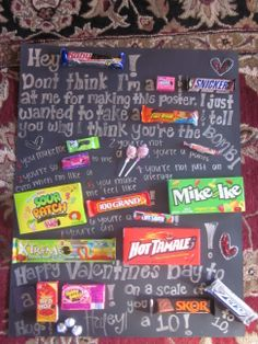 its a candy gram:) its so easy to make! buy a poster buy candy and replace some words with candy!! its a great idea for birthdays and valentines gifts!! I want someone to make this for me!!
